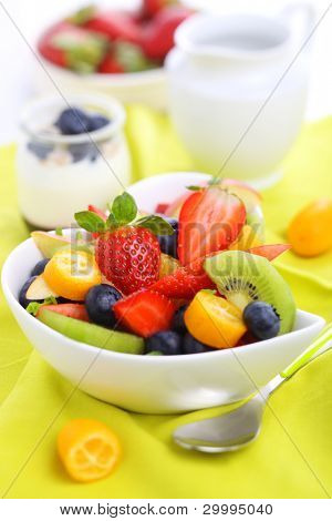 Breakfast- fresh salad with fruits and berries