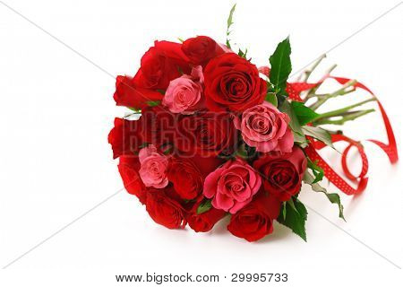 Bouquet of red roses with ribbon on white isolated background
