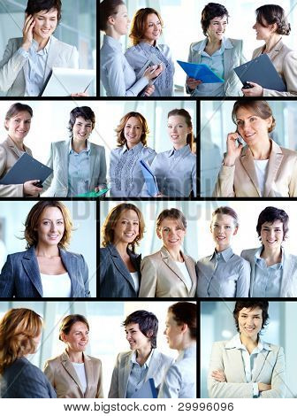 Business collage composed of nine photos of successful and positive business women