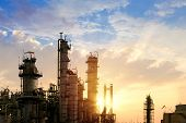 Oil And Gas Refinery Plant Or Petrochemical Industry On Sky Sunset Background, Factory At Evening, M poster