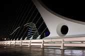 image of calatrava  - Samuel Beckett bridge in Dublin Docklands Ireland - JPG