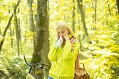 Runny Nose Remedies. Woman Handkerchief Sneezing Because Of Allergy. Blonde Allergic Reaction Relax  poster