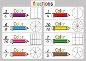 Fractions Worksheet, Fraction Review, Fraction Practice, Educational, Equivalent Fractions, Math Act poster