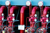 Main Supply Water Piping In The Fire Extinguishing System. Fire Sprinkler System With Red Pipes. Fir poster