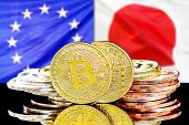 Bitcoins On The Background Of The Flag European Union And Japan. Concept For Investors In Cryptocurr poster