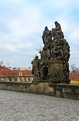 Sculptural Compositions Of Charles Bridge, Prague, Czech Republic. Sculptural Group Of Saints John D poster