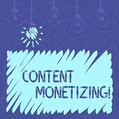 Conceptual Hand Writing Showing Content Monetizing. Business Photo Text Making Money From Content Th poster