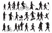 Walking Persons Silhouette. Group People Young Woman Lady And Child Walking Family Isolated Vector B poster
