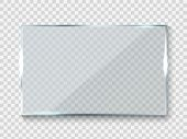 Reflecting Glass Banner. Gloss Rectangle Reflection 3d Panel Texture Or Clear Window On Transparent  poster