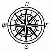 Vintage Compass. Retro Nautical Marine Mapping Symbol For Treasure World Advenure Map. Vector Wind R poster