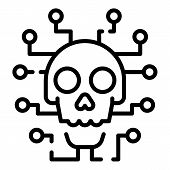 Cyber Hacker Attack Icon. Outline Cyber Hacker Attack Vector Icon For Web Design Isolated On White B poster