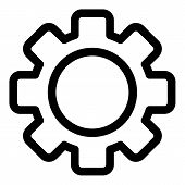 Single Gear Icon. Outline Single Gear Vector Icon For Web Design Isolated On White Background poster
