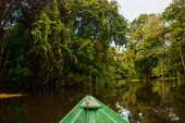 Amazon River, Manaus, Amazonas, Brazil: Wooden Boat Floating On The Amazon River In The Backwaters O poster