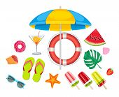 Summer Beach, Set Of Vector Icons. Set Of Cute Summer Icons. Summer Time In Beach Sea Objects. Brigh poster
