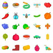 Large Scale Farming Icons Set. Cartoon Set Of 25 Large Scale Farming Icons For Web Isolated On White poster