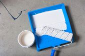Paint Roller, Paint Brush And Paint Tray . Interior Renovation, White Paint poster