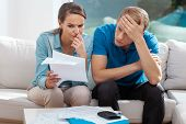 Stressed Married Couple Looking Frustrated, Having No Money To Pay Off Their Debts, Managing Family  poster