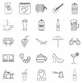 Strong Drink Icons Set. Outline Set Of 25 Strong Drink Icons For Web Isolated On White Background poster