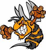 foto of hornet  - Bee or Hornet Fighting Mascot Body Vector Illustration - JPG