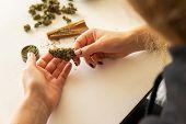 Marijuana Use Concept. Woman Preparing And Rolling Marijuana Cannabis Joint. Woman Rolling A Cannabi poster