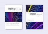 Minimalistic Cover Design Template Set. Rainbow Abstract Lines On Dark Blue Background. Energetic Co poster