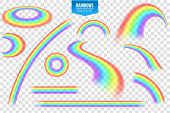 Creative Vector Illustration Of Rainbows In Different Shape Isolated On Transparent Background. Fant poster