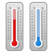 Creative Vector Illustration Of Celsius, Fahrenheit Meteorology Thermometers Scale Isolated On Backg poster