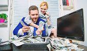 Huge Profit Concept. Financial Success. Counting Money Profit. Man Businessman And Woman Secretary W poster