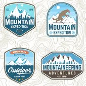 Set Of Mountain Expedition Patches. Vector. Concept For Alpine Club Shirt Or Badge, Print, Stamp Or  poster