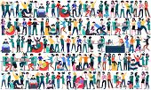 Large Group Of Business People Background. Business People In Different Positions, Teamwork Concept. poster