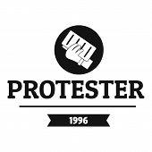 Protester Leaflet Logo. Simple Illustration Of Protester Leaflet Logo For Web poster