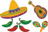 foto of sombrero  - Sombrero Guitar Maracas peppers isolated on a white background For Cinco de Mayo or Fiesta - JPG