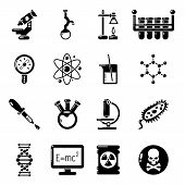 Chemistry Laboratory Icons Set. Simple Illustration Of 16 Chemistry Laboratory Icons For Web poster