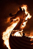 Up Helly Aa Burning Galley Ship And Viking Silhouetted Against The Inferno. Up Helly Aa Is A Viking  poster