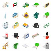 Financial Capital Icons Set. Isometric Set Of 25 Financial Capital Icons For Web Isolated On White B poster