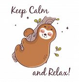 Sloth Sleeping On The Tree Isolated On White Background. Cute Vector Illustration With Motivational  poster