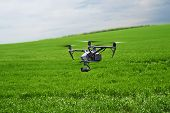 Quadcopter With Camera Flying Over Field. Photography Quadcopter Drone Hovering Over Young Green Spr poster
