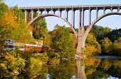 pic of passenger train  - A high arched bridge spans a river and passenger train - JPG