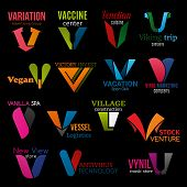 Corporate Identity V Icons, Company Corporate Identity Symbols And Brand Signs. Vector Letter V Adve poster
