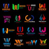 Corporate Identity Letter W Icons Of Business Company Corporate Identity. Workspace Solution Agency, poster