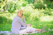 Managing Business Remote Outdoors. Woman With Laptop Sit Grass Meadow. Best Jobs To Work Remotely. B poster