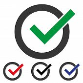 Green Check Mark Icon In A Circle. Check List Button Icon. Check Mark Isolated Flat Web Mobile Icon  poster