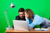 Businessman And Assistant Problem. Secretary With Boss At Workplace. Business Couple At Computer. Lo poster
