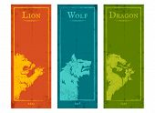 Vector Set Vintage Posters With Lion, Wolf And Dragon. Vintage Banners With Animals For Game Backgro poster