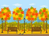 Bright Autumn Park In The City. Panorama Of The City In October With Maple Trees And Leaves. Flat Ve poster