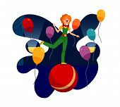Circus Event, Show Night Flat Color Illustration. Young Woman In Joker Outfit And Funny Wig Cartoon  poster