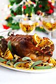 stock photo of roast duck  - Christmas roast duck with orange - JPG