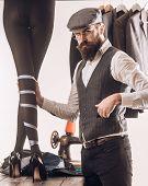 We Love Designer. Womens Tailor Making Designer Collection Of Fashion Dresses. Bearded Man Dressmaki poster