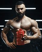 Handsome Strong Athletic Muscles Men Drink Water And Sport Nutrition Workout Bodybuilding Concept Ba poster