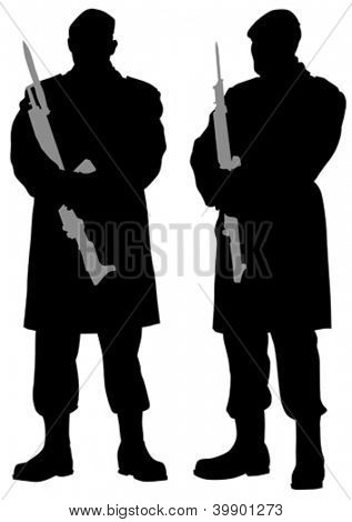 Vector drawing of a soldier with a rifle at post